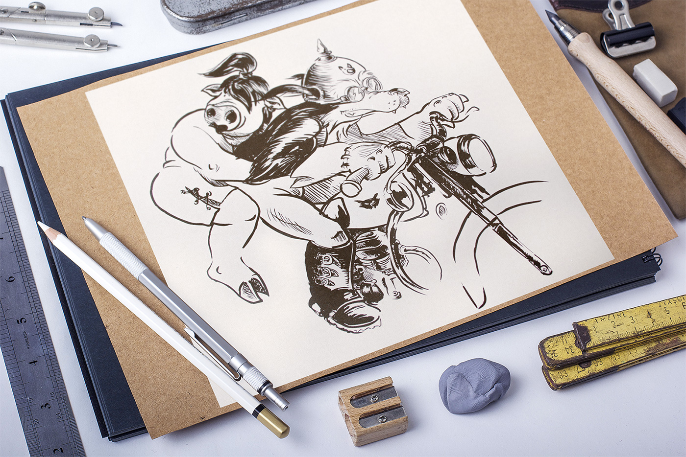 mockup illustration loup